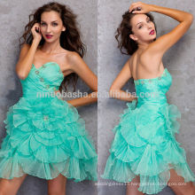 2014 Teal Short Ruched Organza Homecoming Dress Sweetheart Criss Cross Pleats Bodice Ruffled Skirt A-Line Graduation Gown NB0839