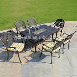 Outdoor dining table aluminum cast table set garden 2 in 1 patio table aluminium set