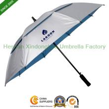 Anti-UV entlüftet Doppelschicht Baldachin Golf Regenschirme (GOL-0027FDA)