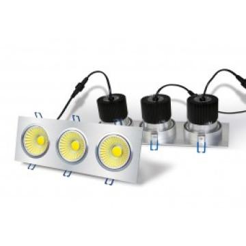 LED Downlight - 3 x 6w COB - Square Housing