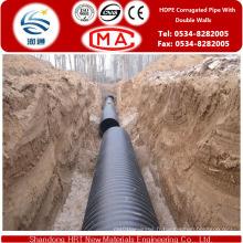 Tuyau ondulé de mur lisse de HDPE de texture douce pour l'approvisionnement en eau avec la durée de vie plus longue