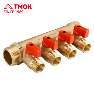 4way Red handle brass Water Manifold