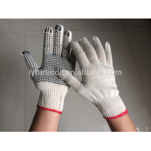 natural white cotton knitted working gloves with PVC dots on palm