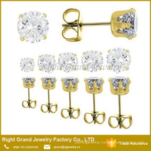 Fashion Stainless Steel Prong Setting Cubic Zirconia Earring Studs