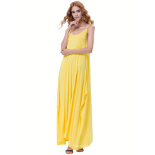 Kate Kasin Womens Casual Loose Spaghetti Straps Yellow Boho Harem Dress KK000712-2