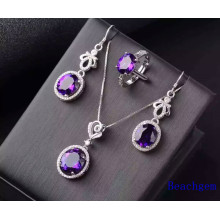 Fashion Jewellery Set with Amethyst Gemstones (S2638)