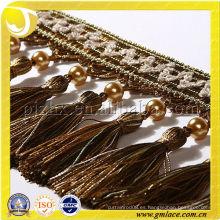 Cortina franja decorativa franja accesorios de la cortina hecha en China 11cm franja de borla de cuero