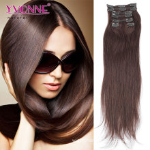 100% Brazilian Human Hair Clip in Hair Extensions