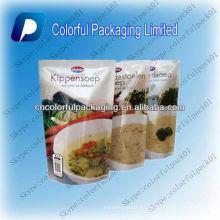 La impresión modificada para requisitos particulares se levanta el bolso de sopa con la sopa de la carne de la cremallera se levanta las bolsas con la impresión