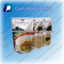 Customized Printing Stand Up Soup Bag With Zipper Meat soup stand up pouches with printing