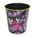 Black Plastic Flower Printed Open Top Garbage Bin (B06-2012-2)