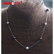 Moda jóias 7 milímetros rodada pérolas de água doce com colar de corrente de prata (E130154)