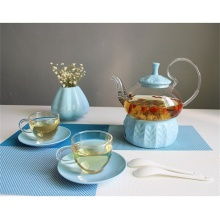 Large Tea Glass Teapot with Glass cups