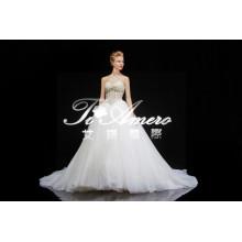 2015 новый продукт Прибытие-line милая аппликация тяжелых вышитый бисером кружева свадебное платье