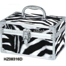 caso de beleza de alumínio fashionale com couro de PVC de zebra como pele