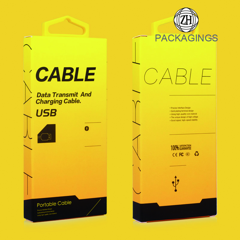 Paper data cable packaging box with a hook