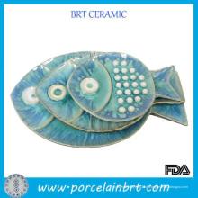 Placa dividida sobremesa personalizada branca do jantar da porcelana decorativa cerâmica decorativa