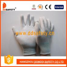 Luvas de poliéster / poliéster PU revestimento na palma da mão e dedos (DPU219)