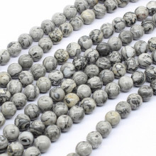 2015 Gets.com 6-8-10-12mm round Natural Picture Jasper Beads