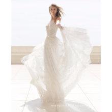 V profundo vestido de noiva de vestido de noiva de praia de renda de pescoço
