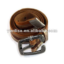 2013 Fashion Wide Full Grain Leather Belt With Unique Alloy Buckle