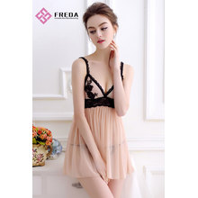 Pretty Nude Sexy Lace Flower Babydoll Dress