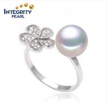 Forma de flor branca rodada anel de pérola de água doce 8-9 milímetros por atacado anel de pérola real