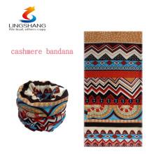 Nuevos productos calientes para la cachemira 2016 del lingshang venda al por mayor sin hilos multiusos sin hilos del tubo headwear bandana