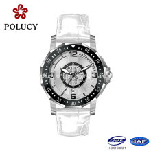 2016 Sapphire Crystal Watches Prices White Leather Strap Vogue Men Watch