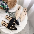 Black 3d embroidery patch Female Slip On Shoes