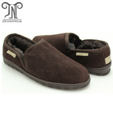 men comfortable warm leather indoor fur slippers