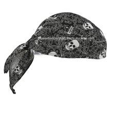 OEM Produce Customized Logo impreso algodón promocional cráneo Doo Rag Biker deportes Bandana Head Wrap Head bufanda