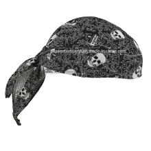 OEM Produce Customized Logo Printed Cotton Promotional Skull Doo Rag Biker Sports Bandana Head Wrap Head Scarf