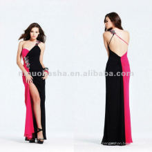 Color-block one shoulder silky chiffon evening dress