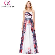 Grace Karin 2017 nueva gasa de las mujeres de la manera flor floral larga imprimió el vestido de noche del patrón GK000131-1
