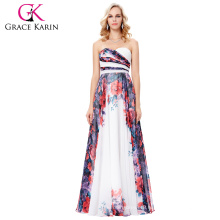 Grace Karin 2017 New Fashion Women Chiffon Long Floral Flower Printed Pattern Evening Dress GK000131-1