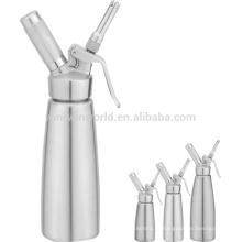 Distribuidor chicoteado de aço inoxidável do creme 500ml com SS três bocais e escova diferentes
