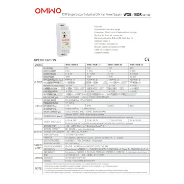 Omwo Wxe-15dr-15 DIN Rail Switching Power Supply