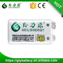 High capacity of 680mah rechargeable 9v lithium battery