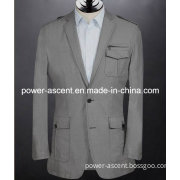 Spring/Autumn Mens Grey Fashion Cotton Suit Jackets