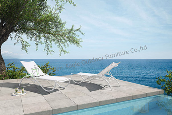 Outdoor Aluminium White Lounge Chair