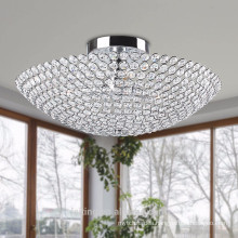 3-light Chrome Bowl-shaped Crystal Flush Mount Lamp-51107