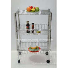 Home Kitchen Hand Push Basket Trolley Rack (BK603590B3C)