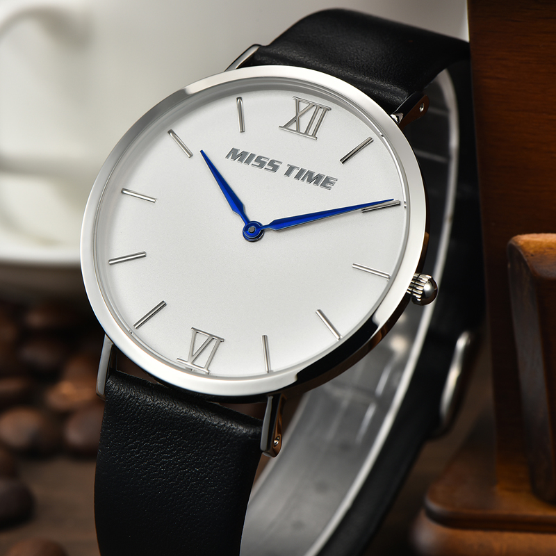 minimalist genuine leather strap case quartz watch