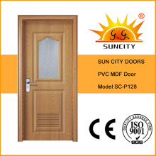 Porta interior do banheiro do PVC do preço do vidro geado com janela (SC-P128)