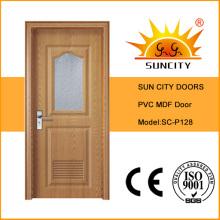 Интерьер матовое стекло Цена двери ванной комнаты PVC с окном (СК-P128)