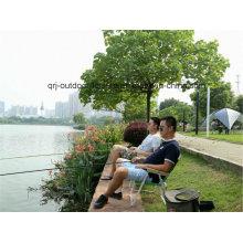 Leve pesca cadeira ao ar livre Camping Alu dobrável portátil (com braço de madeira)