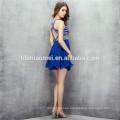 2017 royal blue mini design 2pcs set evening dress backless heavey beading traditional bridesmaid dress