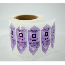 Impresión personalizada de la etiqueta engomada del brillo de la película holográfica