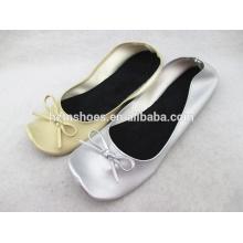 Chaussures de ballerine portatives à talons carrés chaussures plates chaussures de ballet souples filles